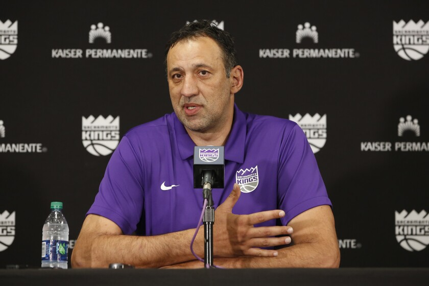 Vlade Divac, shown in April 2019, stepped down as the Sacramento Kings' general manager Friday.