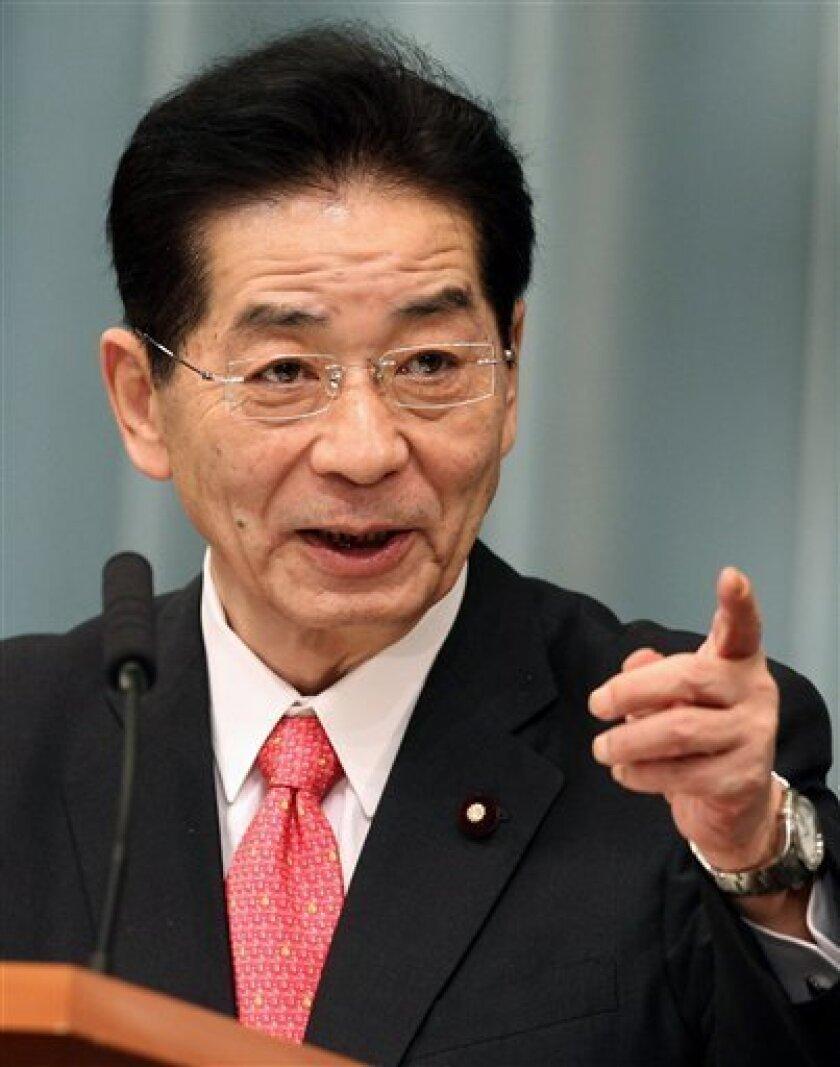 Japan's Chief Cabinet Secretary Yoshito Sengoku gestures during a press conference to announce new Cabinet members as Prime Minister Naoto Kan reshuffled his Cabinet at Kan's official residence in Tokyo Friday, Sept. 17, 2010. (AP Photo/Shuji Kajiyama)