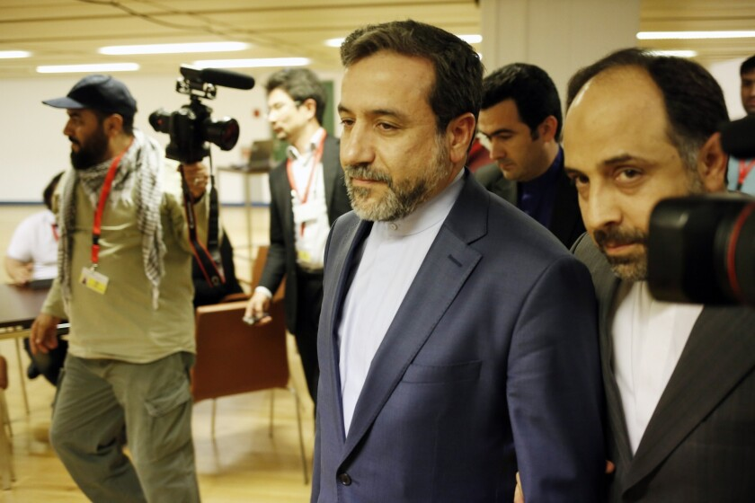 Iranian Deputy Foreign Minister Abbas Araqchi, center, shown arriving at nuclear talks in Vienna on May 16, said this week that the negotiations may be extended past their November deadline.