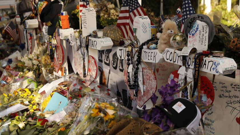 THOUSAND OAKS, CA - NOVEMBER 27, 2018. Crosses bear the names of the victims of the Borderline shoot