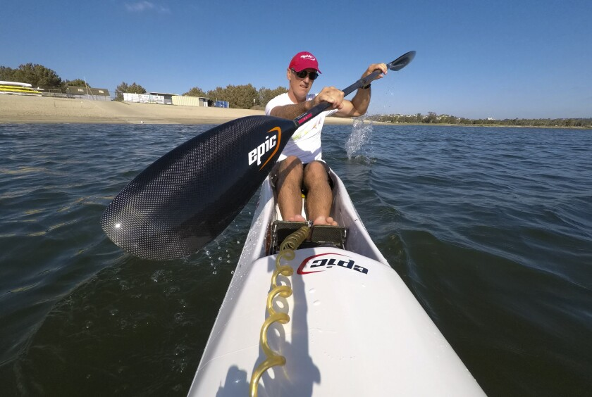 Chris Barlow goes through a light paddle workout on his surf ski at Fiesta Island.