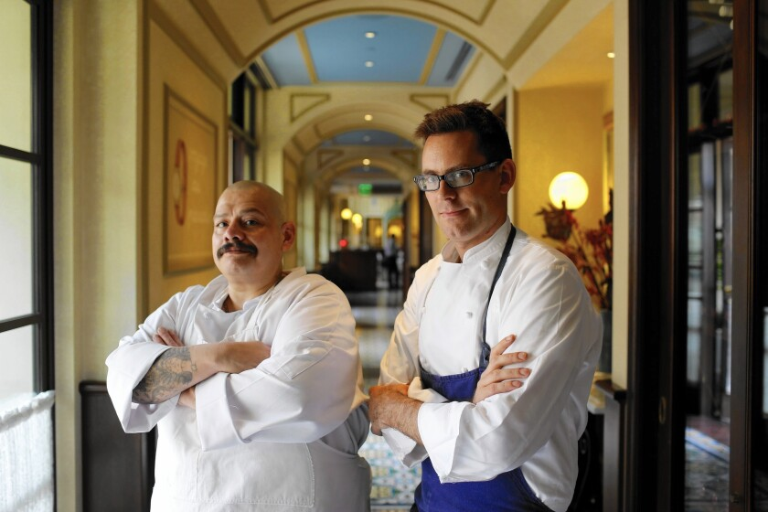 Chef David Hand, right, of Bouchon, a restaurant in Beverly Hills, has helped former intern Javier Medina, who served four terms in prison and was a gang member for 26 years, turn his life around. Medina now works in the bakery at the French bistro.