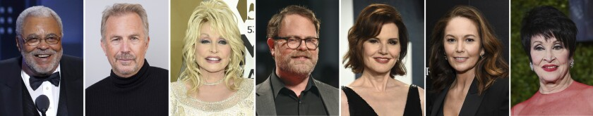 This combination photo of celebrities with birthdays from Jan. 17-23 shows James Earl Jones, from left, Kevin Costner, Dolly Parton, Rainn Wilson, Geena Davis, Diane Lane and Chita Rivera. (AP Photo)