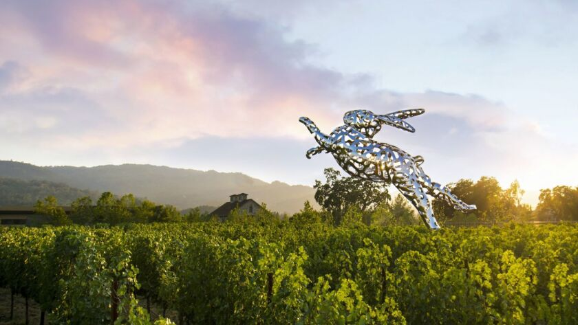 """""""Bunny Foo Foo"""" by Lawrence Argent at Hall Winery in Helena, California. Credit: Justine Di Fede / H"""