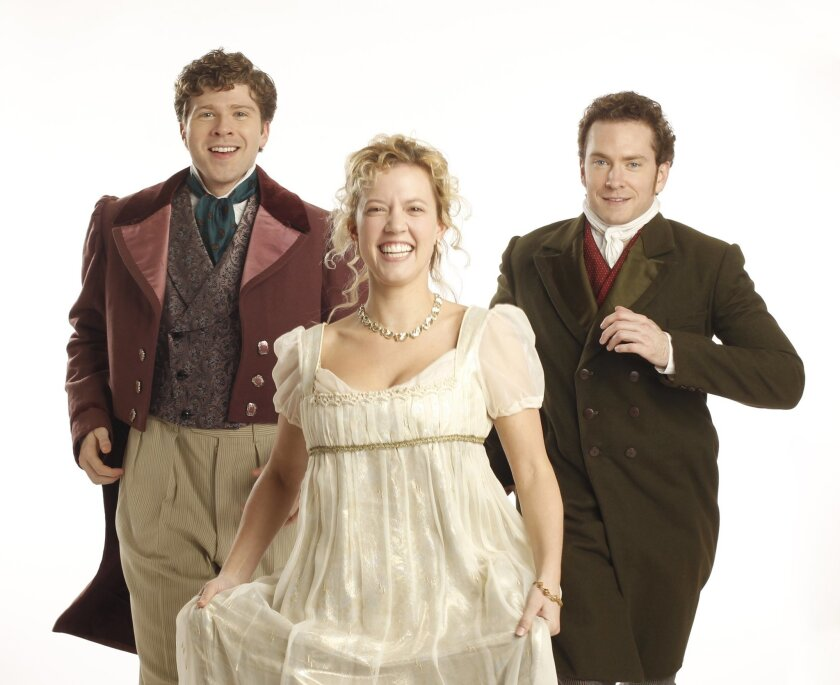"""Will Reynolds as Frank Churchill, Patti Murin as Emma Woodhouse and Adam Monley as Mr. Knightley in the Old Globe production of """"Jane Austen's Emma - A Musical Romantic Comedy."""""""