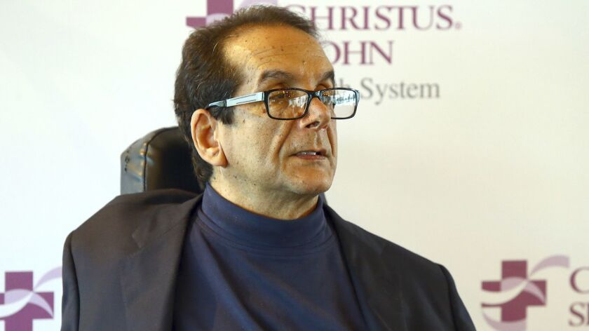 FILE - In this March 31, 2015 file photo, Charles Krauthammer talks about getting into politics dur