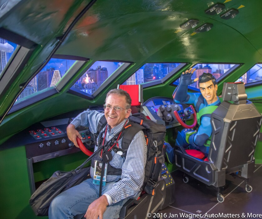 Jan in Thunderbird 2 interior at THUNDERBIRDS ARE GO San Diego Comic-Con 2016 experience