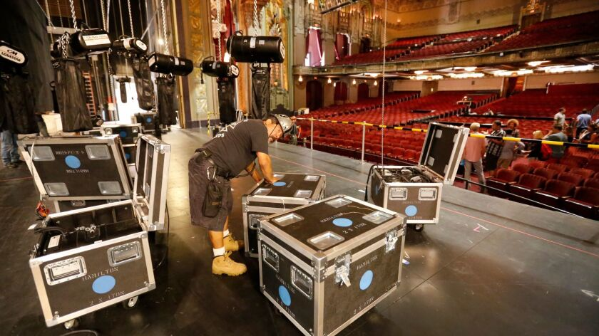 """At the Hollywood Pantages Theatre, crews unload the first bits of staging for the national tour of """"Hamilton."""" Check back soon for our complete behind-the-scenes report."""