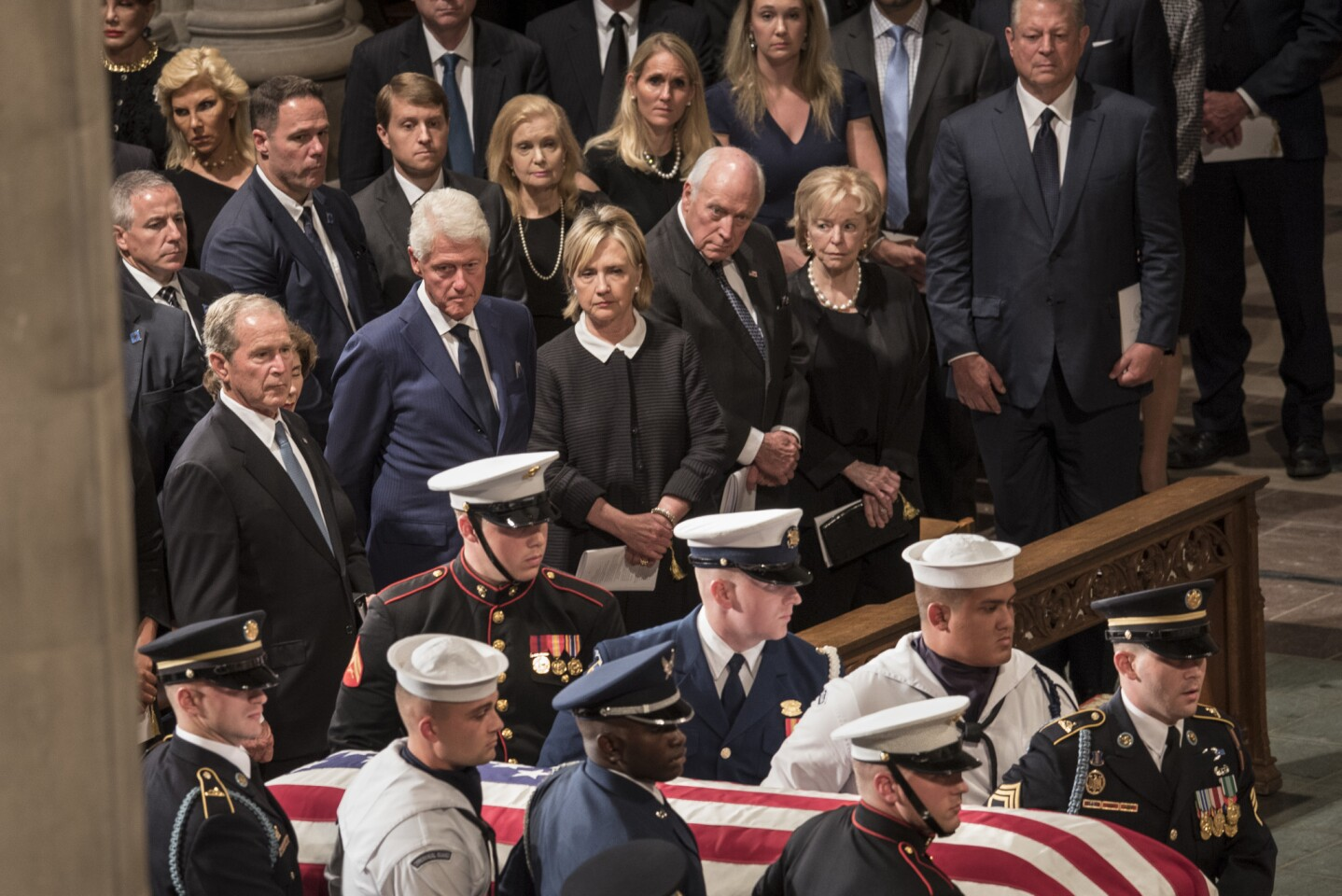 Former Presidents George W. Bush and Bill Clinton, former Secretary of State Hillary Clinton, former Vice President Dick Cheney and Lynne Cheney at the memorial service for Sen. John McCain on Saturday at the Washington National Cathedral.