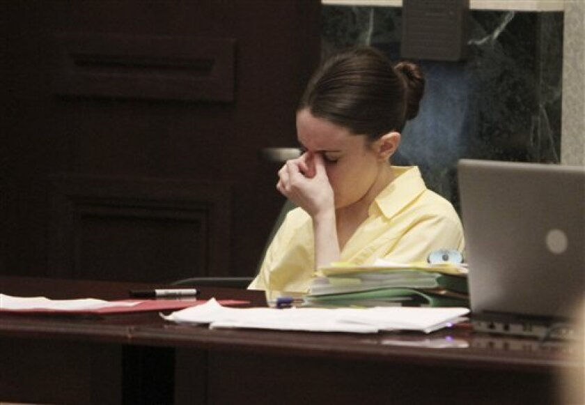 Casey Anthony looks away as a photo of the skull of her daughter Caylee Anthony is displayed during testimony in her murder trial at the Orange County Courthouse in Orlando, Fla., Friday, July 1, 2011. Casey Anthony, 25, is charged with killing her daughter Caylee in the summer of 2008. (AP Photo/Red Huber, Pool)