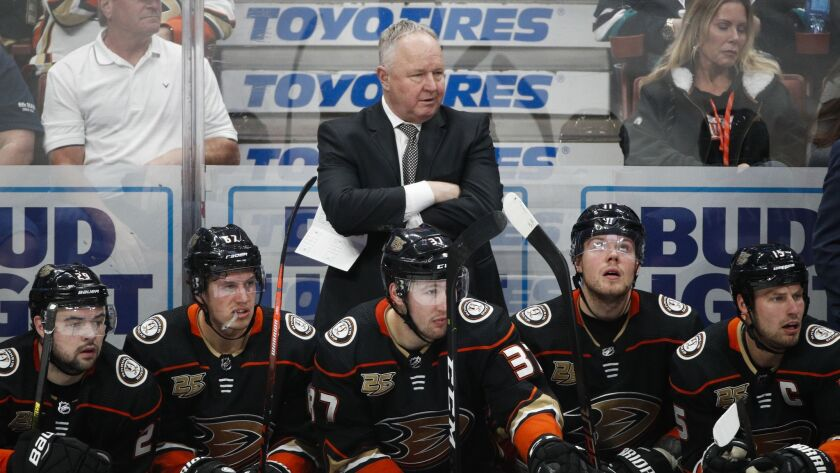 Ducks coach Randy Carlyle watches his team slip to the bottom of the Western Conference.