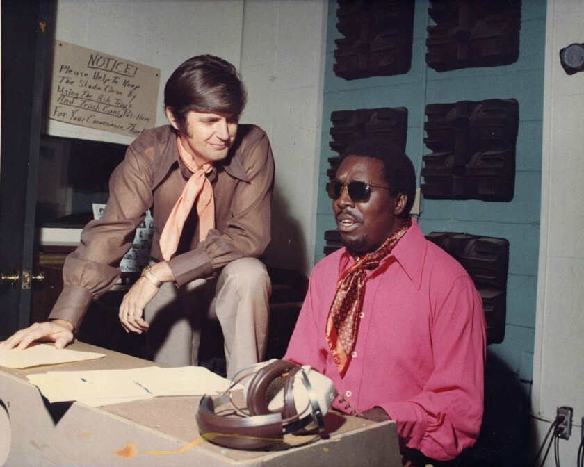 Rick Hall and Clarence Carter at Fame Recording Studio in Muscle Shoals, Ala., in the 1970s.