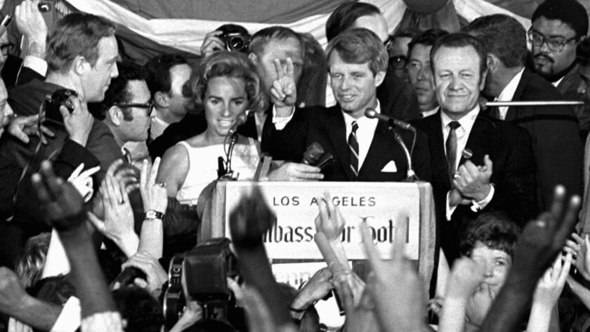 Sen. Robert F. Kennedy speaks his final words to supporters at the Ambassador Hotel in Los Angeles, moments before he was shot on June 5, 1968.