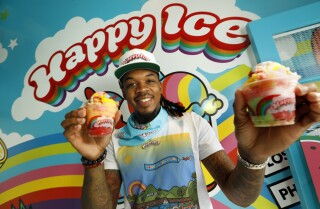 LOS ANGELES, CA-JUNE 20, 2020-Originally from Philadelphia, Lemeri Mitchell is owner of Happy Ice, a new water ice shop on Melrose Avenue. After starting his business in food trucks, Mitchell has opened his first brick and mortar shop on Melrose Ave. on June 20, 2020.. (Carolyn Cole/Los Angeles Times)