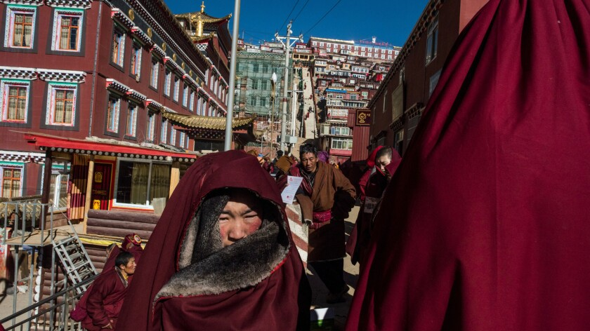 Buddhist nuns of the monastery at Larung Gar.
