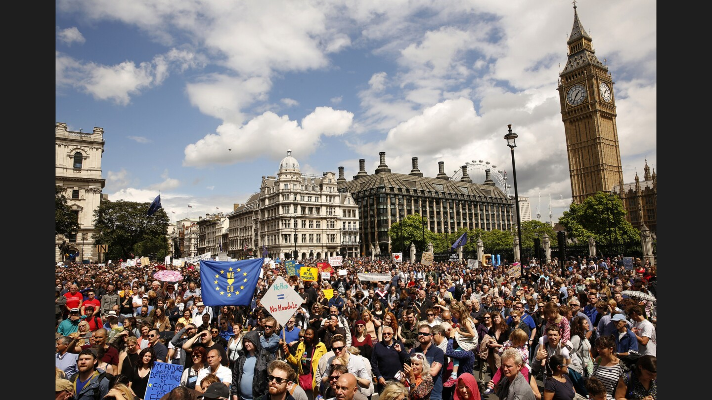Thousands of people gathered in London's Parliament Square on July 2, 2016, to protest Britain's vote to leave the European Union.