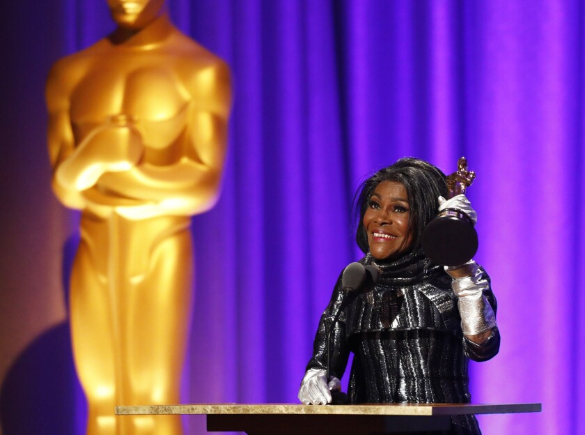 Actress Cicely Tyson accepts her Oscar at the 10th Governors Awards on Sunday.