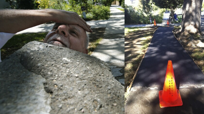 At left, columnist Steve Lopez nearly disappears under an uplifted sidewalk in the Beverwil section of Los Angeles. At right, the sidewalk is repaired.