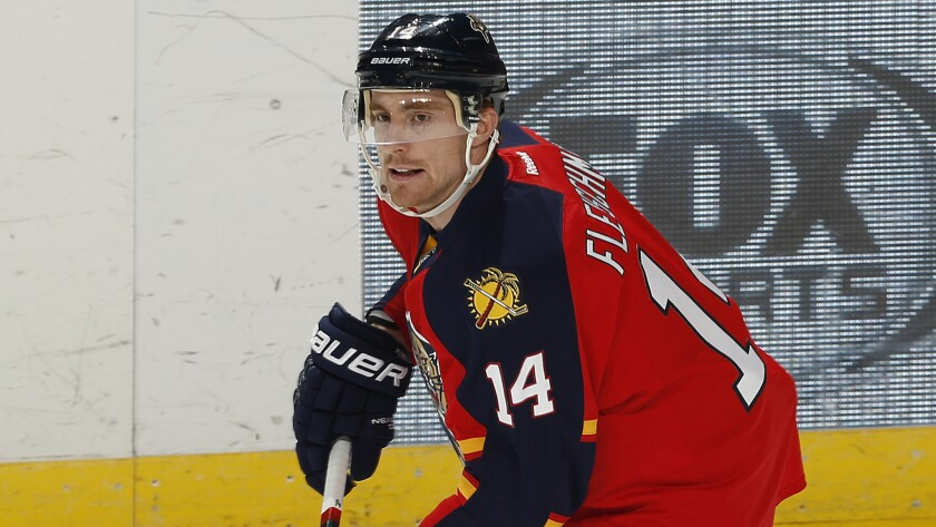 Florida Panthers forward Tomas Fleischmann warms up before a game against the Chicago Blackhawks on Thursday.