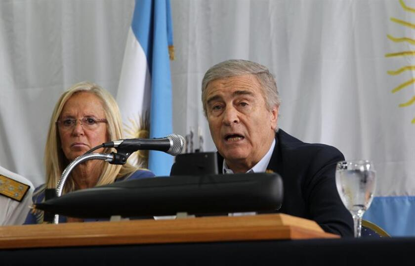 Argentine Defense Minister Oscar Aguad tells a press conference on Saturday, Nov. 17, 2018, that the government lacks the means to refloat the ARA San Juan submarine, which was found this morning in the depths of the Atlantic Ocean a year after it disappeared. EFE-EPA/Marina Guillen
