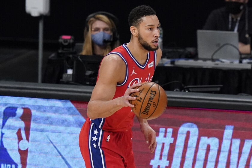 76ers guard Ben Simmons brings the ball up the court during a recent game.
