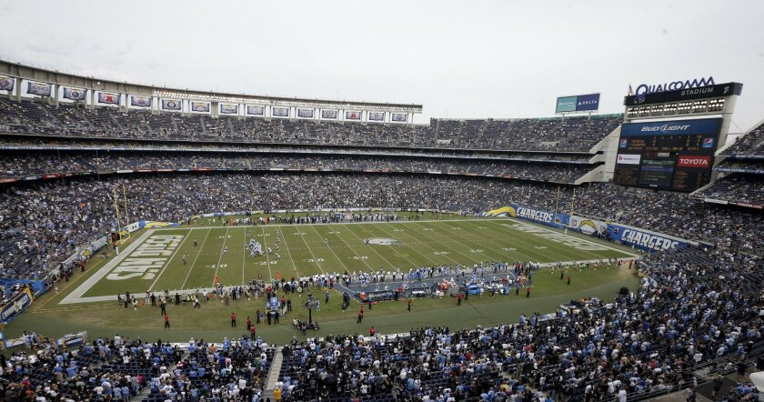 """The Chargers relocation application stated the team tried """"everything"""" to find a replacement for Qualcomm Stadium."""