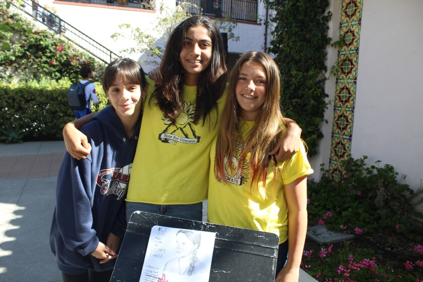 Young climate activists Angela Aguirre, Maya Alam and Fabiola Theberge.
