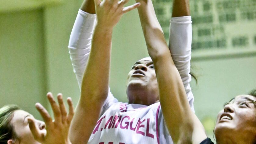 Mount Miguel's Camara Douglas (shown in an earlier game) had 24 points and 15 rebounds in Wednesday's win over La Costa Canyon.
