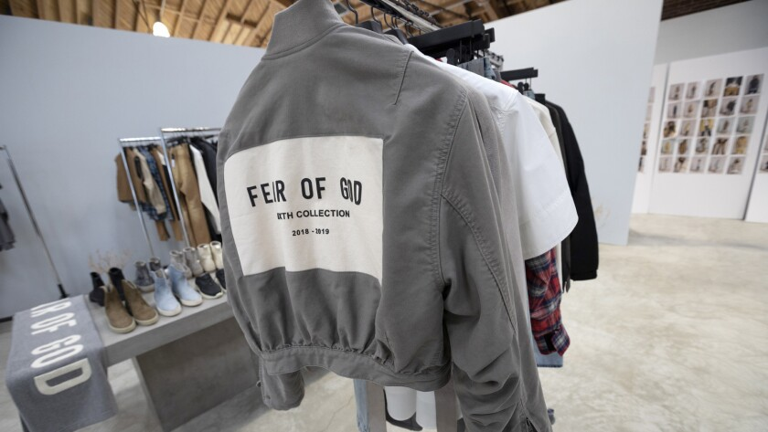 LOS ANGELES, CA - SEPTEMBER 05, 2018 - Clothing on wracks in the showroom of fashion line Fear of Go