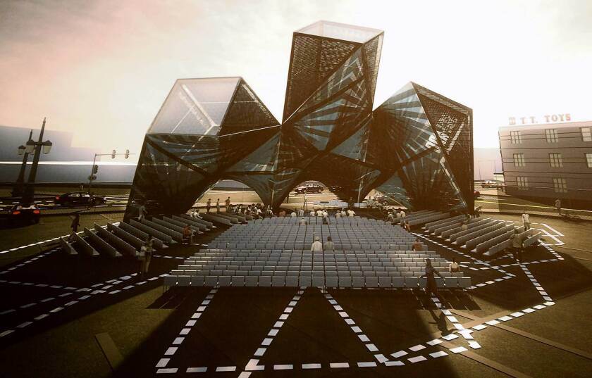 A computer-generated image of SCI-Arc's new graduation pavilion, which was designed by Marcelo Spina, a professor at the school.