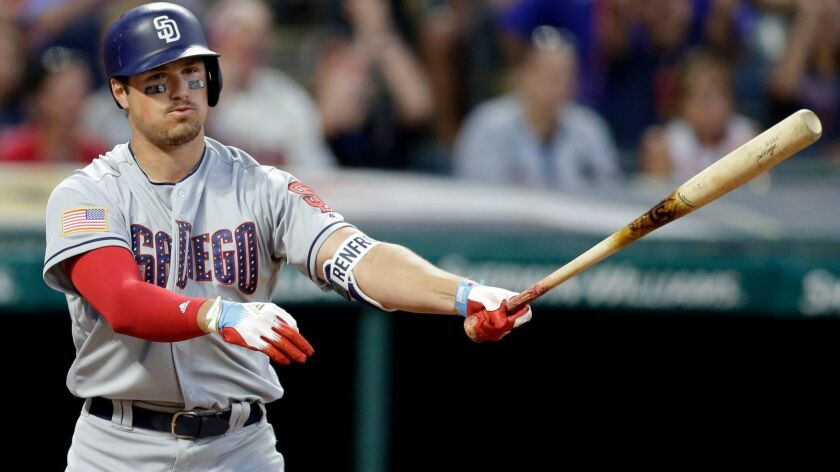 The Padres' Hunter Renfroe reacts after striking out against Cleveland Indians starting pitcher Corey Kluber in the sixth inning of a baseball game, Tuesday, July 4, 2017, in Cleveland.