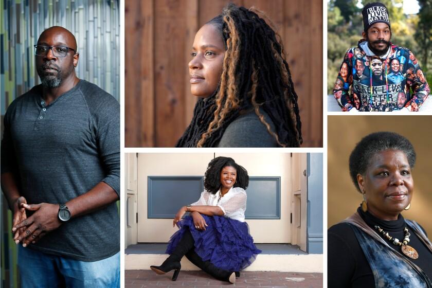 "(Clockwise from left) Ahmed K. Dents, Monique Gaffney, William ""BJ"" Robinson, Kimberly King, Joy Yvonne Jones"