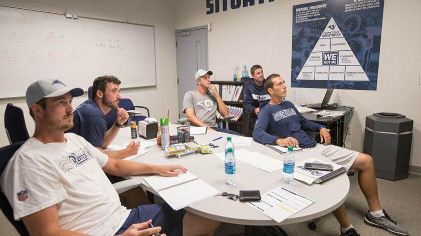 (L-R) Rams quarterbacks Sean Mannion, Brandon Allen, Jared Goff, quarterbacks coach Zac Taylor, Lui