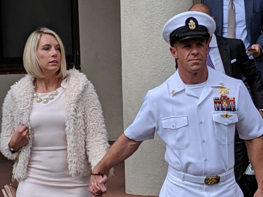 Then-Chief Navy Special Operator Edward R. Gallagher and his wife Andrea Gallagher during his trial at Naval Base San Diego in June. Gallagher has since been reduced in rank to Petty Officer 1st Class.
