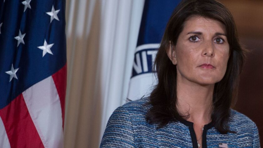 """The administration's overarching view is that the best way to help people get out of poverty is to help them get a job,"" U.N. Ambassador Nikki Haley said in a letter to Congress."