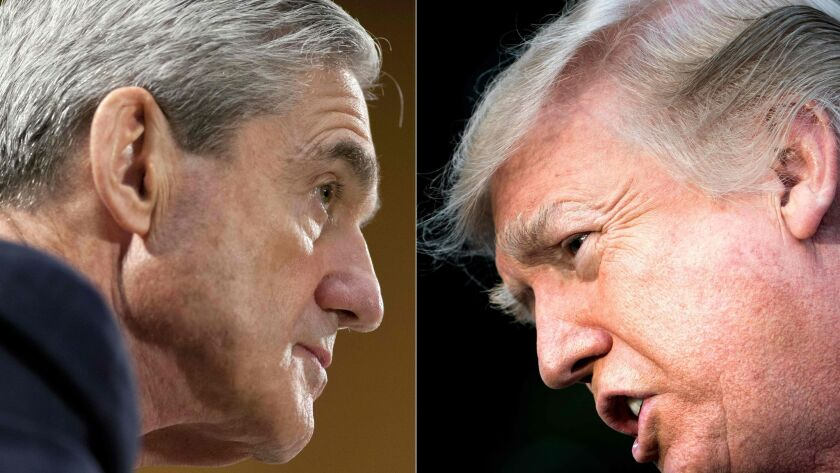 Special counsel Robert S. Mueller III and President Trump.