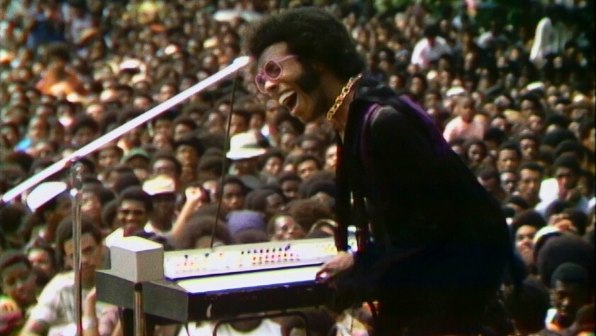"""Musician Sly Stone in a still from the documentary """"Summer Of Soul (...Or, When The Revolution Could Not Be Televised)"""""""