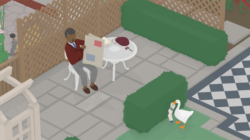 "A goose holds a sock in its beak while, on the other side of a hedge, a man sits at a table with a newspaper in ""Untitled Goose Game."""