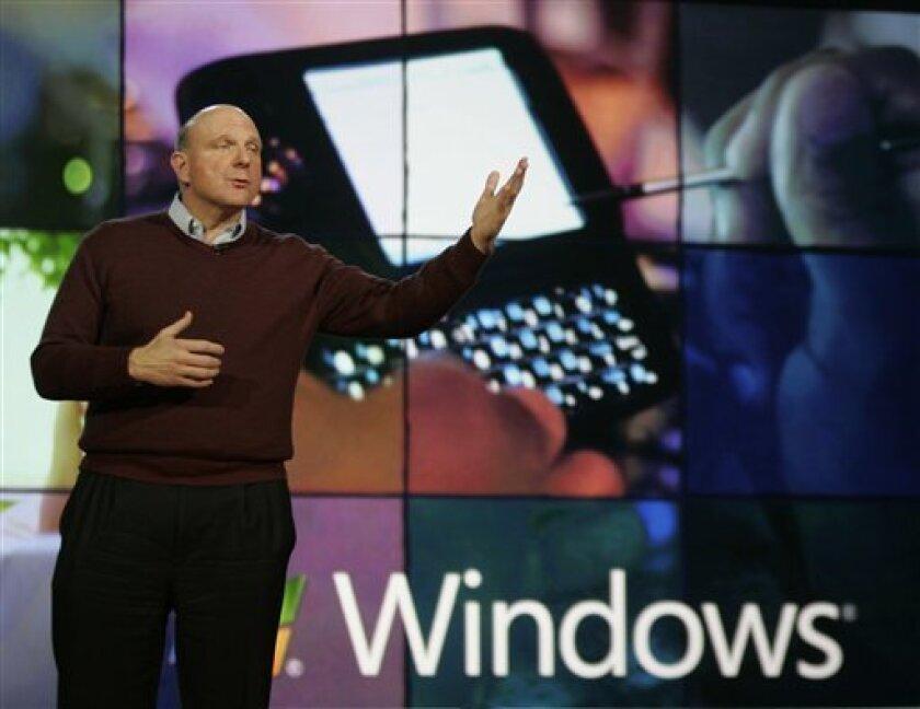 Microsoft Corp. CEO Steve Ballmer delivers the keynote address Wednesday, Jan. 7, 2009, at the International Consumer Electronics Show in Las Vegas. (AP Photo/Paul Sakuma)