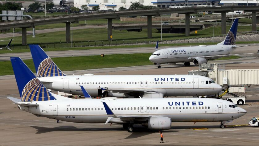 United Airlines jets in Houston in 2015.