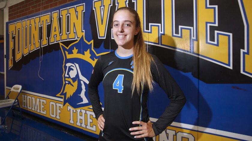 Fountain Valley junior outside hitter Phoebe Minch is the Daily Pilot athlete of the week.