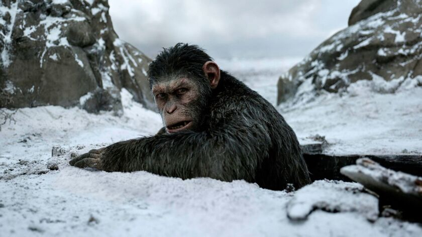 """This image released by Twentieth Century Fox shows a scene from, """"War for the Planet of the Apes."""" ("""
