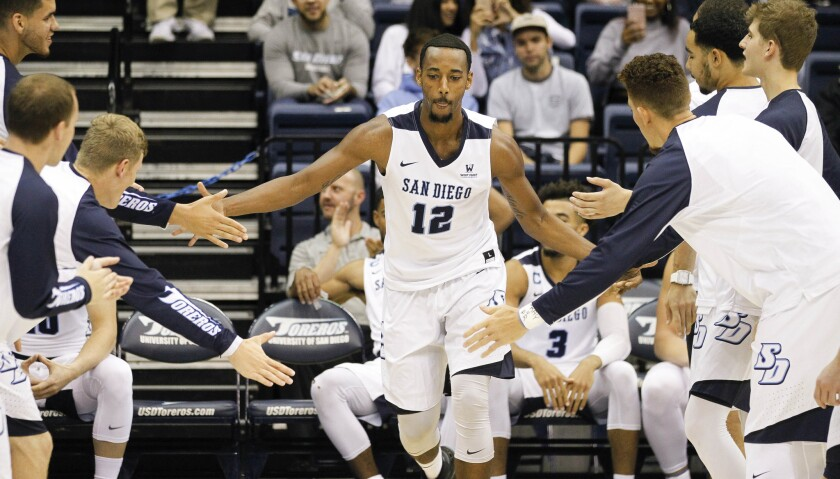SAN DIEGO, November 1, 2017 | USD's Juwan Gray is announced before exhibition game against Arizona S