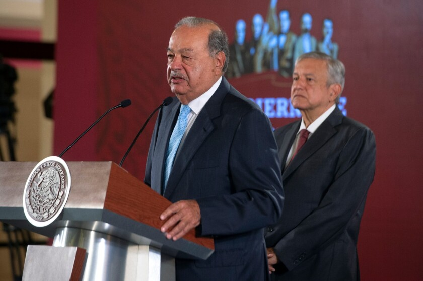 Billionaire Carlos Slim, Mexico's richest man, and President Andres Manuel Lopez Obrador announcing Tuesday an end to a months-long standoff between the country's federally-run power utility and three pipeline companies. The group said the agreement will bring natural gas to Mexico through cross-border pipelines.