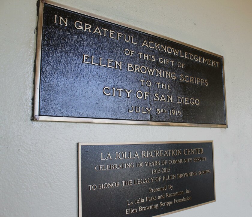 Situated above the newest plaque installed at La Jolla Recreation Center — one added this year to commemorate the center's centennial — one of the three historic plaques recently restored at the public space shines like it hasn't in years. Dedicated by the city of San Diego to Ellen Browning Scripps' generosity in funding the Rec Center's construction, the plaque is one of two onsite that date to the center's 1915 opening.