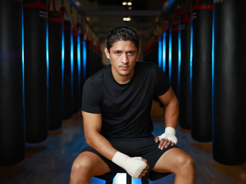 Giovani Santillan, an unbeaten boxer from San Diego, is shown at The BXNG Club downtown.