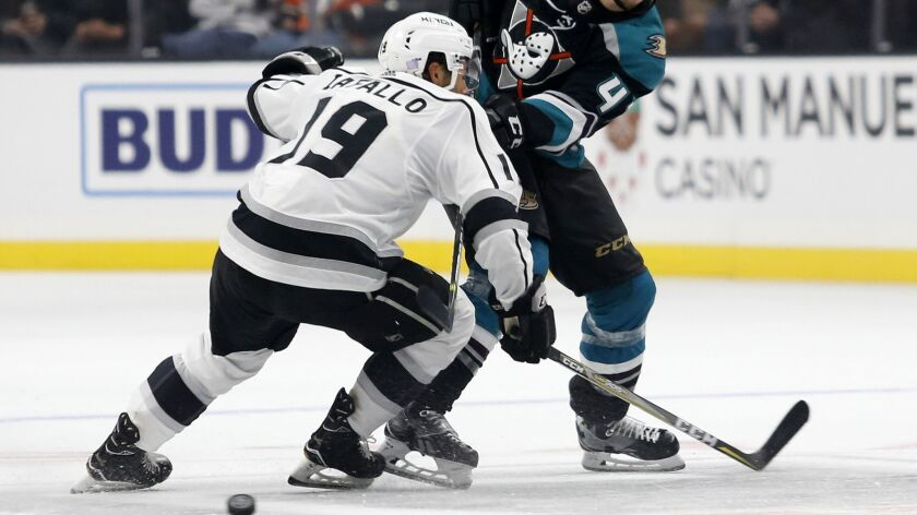 Los Angeles Kings and Anaheim Ducks games are broadcast on the Fox regional sports networks, which are up for sale. Above, Kings player Alex Iafallo during a game this month in Los Angeles.