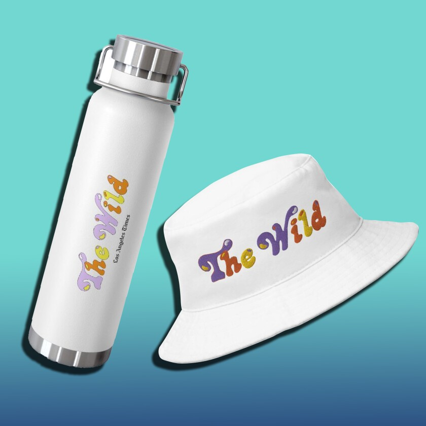 """A metal water bottle and a bucket hat emblazoned with the words """"The Wild."""""""
