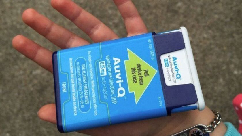 The Auvi-Q epinephrine auto-injector, which will be stocked at Walgreens stores nationwide, has a wholesale price of $4,900 for a two-pack but will be free to most consumers because its manufacturer will cover any out-of-pocket costs for people with private insurance.