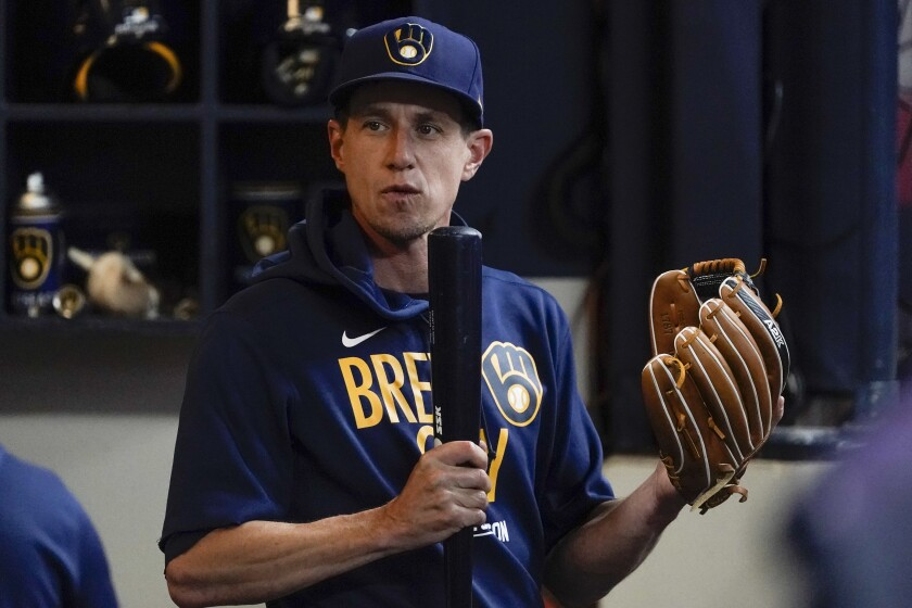 Milwaukee Brewers manager Craig Counsell is seen at a practice for the Game 1 of the NLDS baseball game Thursday, Oct. 7, 2021, in Milwaukee. The Brewers plays the Atlanta Braves in Game 1 on Friday, Oct. 8, 2021. (AP Photo/Morry Gash)